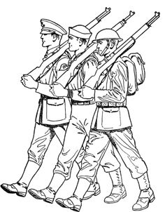 soldiers marching veterans day coloring pages