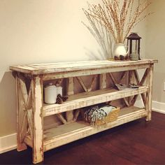 The Country Farmhouse Console/Buffet is truly a statement piece in any room. Decorate it beautifully with with all your beloved photos, books, and other decor. Its an excellent piece to decorate for the Holidays! The piece shown in the photo is 72 inches long, 16.5 deep, 32 tall and has a heavily distressed and weathered finish. It is solid wood. TURNAROUND TIMES ARE APPROXIMATELY 12 WEEKS. WE WORK IN THE ORDER THAT ITEMS ARE PURCHASED BY OUR CUSTOMERS. WE ASK FOR YOUR PATIENCE WITH THIS…
