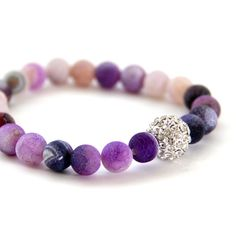 Frosted Purple Agate Crystal Bracelet with Clear Crystal Pave Accent Bead on Etsy, $22.00