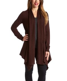 Another great find on #zulily! Espresso Drape Open Cardigan by By Design #zulilyfinds