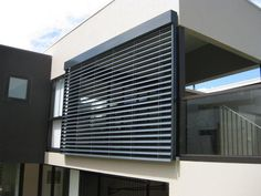 Retractable Louvres and Blinds photo gallery Exterior Blinds, Window Glazing, Window Shutters, Venetian, Facade, Architecture Design, Photo Galleries, Louvre, Home Appliances