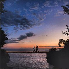 Hand in hand, alone at dusk. Now that's a lovely way to spend Valentine's Day. Can you name the romantic resort featured here?   Repin if you want to spend V-Day in Jamaica.