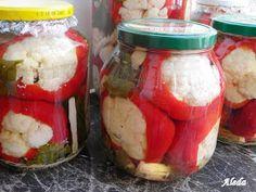 Aleda konyhája: Karfiollal töltött paradicsompaprika Preserves, Pickles, Mason Jars, Canning, Vegetables, Cukor, Food, Red Peppers, Preserve
