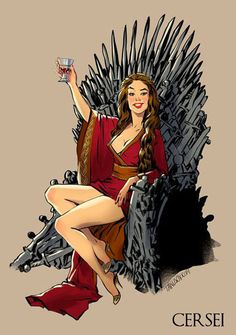 Pin up Cersei Lannister sitting in the iron throne. Style: Pin Up. Art Game Of Thrones, Game Of Thrones Drawings, Game Of Thrones Saison, Cersei Lannister, Daenerys Targaryen, Estilo Pin Up, Jessica Rabbit, Betty Boop, Pin Ups Vintage