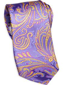 Jhane Barnes Lavender and Yellow Paisley Narrow Tie