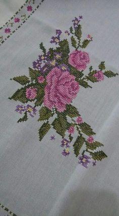 Bir dal kIrabilir misin bakalim gönlümüzde. Cross Stitch Embroidery, Embroidery Patterns, Hand Embroidery, Cross Stitch Designs, Cross Stitch Patterns, Baby Dress Patterns, Cross Stitch Flowers, Projects To Try, Diy Crafts
