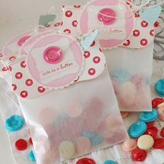 cute as a button treat bags filled with candy buttons