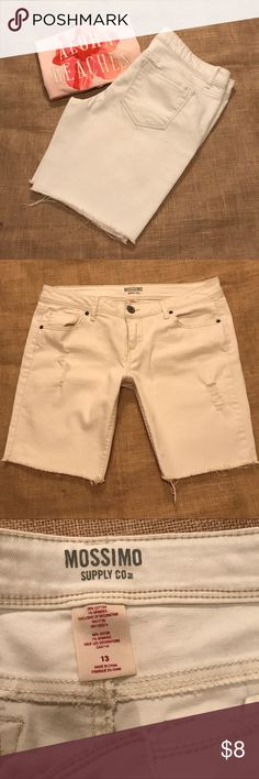 Mossimo white shorts Size 13. Brand is mossimo. Bermuda style. Stretchy jean material. Like new. Mossimo Supply Co Shorts Bermudas