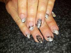 Zebra cheetah french ombre nail art
