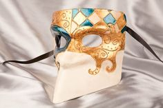 Blue Casanova Bauta Mask with Swirl Decoration and Gold Leaf Detail