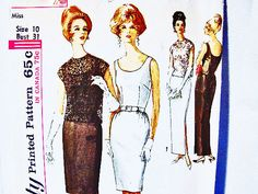 1960s Dress Pattern Misses size 10 Womens by PatternsFromThePast