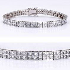 A classic cubic zirconia bracelet featuring double row of small princess cut stones (2mm each) channel set in 14k white gold. An approximate 6.32 total carat weight. This high quality cubic zirconia bracelet is 7 inches long, also available in different lengths via special order. Cubic zirconia weights refer to equivalent diamond carat size.