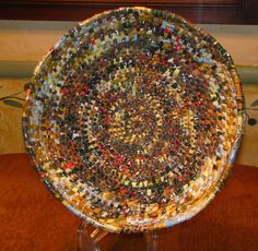 woven basket made out of recycled plastic bags $110.00