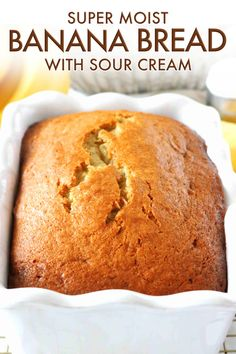 Banana Bread with Sour Cream - Overripe bananas and sour cream are the keys to moist Banana Bread with big banana flavor! This cla - Sour Cream Banana Bread, Healthy Banana Bread, Chocolate Chip Banana Bread, Chocolate Chip Recipes, Super Moist Banana Bread Recipe With Sour Cream, Sour Bread Recipe, 2 Bananas Banana Bread, Banana Bread Muffins, Chocolate Chips