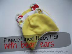 Fleece Baby Hat with Bear Ears pattern