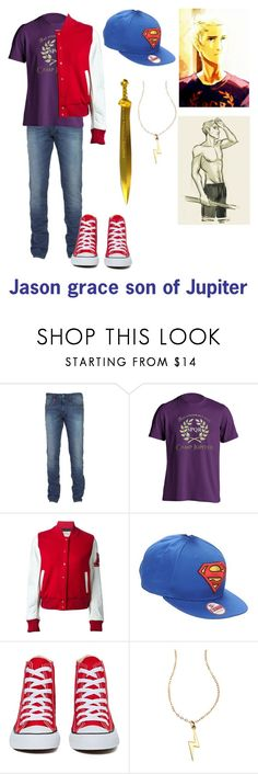 """""""Jason grace son of Jupiter"""" by gglloyd ❤ liked on Polyvore featuring American College, New Era, Converse, Grace, women's clothing, women's fashion, women, female, woman and misses"""