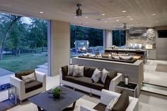Indoor, outdoor living space with flush mount W-Series heaters. Photo via Linda Fritschy Interior Design. Outdoor Kitchen Cabinets, Outdoor Kitchen Design, Patio Design, House Design, Indoor Outdoor Kitchen, Terrace Design, Kitchen Countertops, Kitchen Furniture, Kitchen Appliances