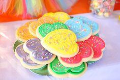 Rainbow heart cookies from a Rainbow Heart Birthday Party on Kara's Party Ideas | KarasPartyIdeas.com (18)