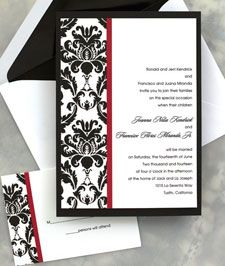 Our colors are black, white, and red...we love damask...winner winner chicken dinner, maybe.