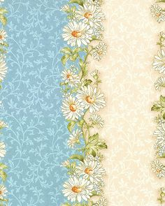 Gentle Breeze - Daisy Garland Stripe - Lt Blue