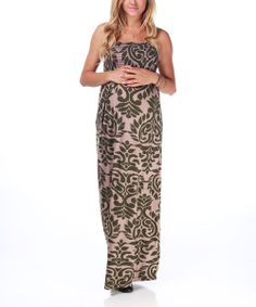 Olive Mocha Damask Maternity Maxi Dress