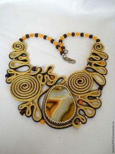 """Naszyjniki, koraliki handmade.  Fair Masters - ręcznie.  Sprzedam naszyjnik agat Sutazhnoe """"Złotego Runa"""".  Handmade.  Złoto"""