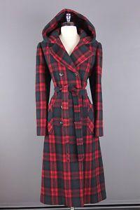 Vtg 70s Boho Red Tartan Plaid Hooded Wool Princess Pea Coat Jacket s M | eBay