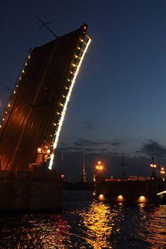 White nights in St Petersburg, June, Troitsa's bridge opening ~