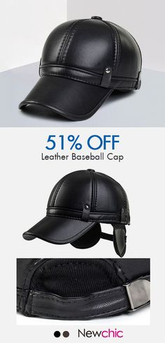e5d277324d89d Men Cowhide PU Leather Baseball Cap Earflaps Earmuff Bomber Snapback  Adjustable Hat Peaked cap is hot sale on Newchic.