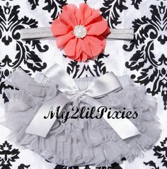 Ready to Ship- Grey and Coral Baby Girl Headband Set- Ruffle Bum tutu Baby Bloomer and Headband. Newborn photo prop,baby girl set by my2lilpixies on Etsy https://www.etsy.com/listing/193358749/ready-to-ship-grey-and-coral-baby-girl