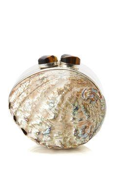 Shop Maricel Soriano Paua Beige Shell Box by Celestina for Preorder on Moda Operandi