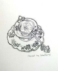 illustration by Famous illustrator Jung Jieun(blue fairy) in South Korea. TITASY  ROSE PEWTER TEA STRAINER.