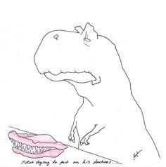 T-Rex Trying to put on his dentures… Hugh Murphy Dental Jokes, Dental Hygiene, T Rex Arms, Dragon Cat, T Rex Shirt, T Rex Humor, Work Jokes, Dinosaur Funny, Jokes Pics