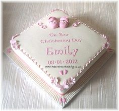 girls christening square cake with booties Girl Christening Decorations, Baby Girl Christening Cake, Christening Cake Boy, Baby Girl Cakes, Baby Christening, Baptism Cakes, Cake Baby, Girl Baptism, Dedication Cake