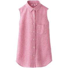 UNIQLO Women Premium Linen Check Sleeveless Shirt ($30) ❤ liked on Polyvore