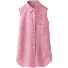 UNIQLO Women Premium Linen Check Sleeveless Shirt ($30) ❤ liked on Polyvore
