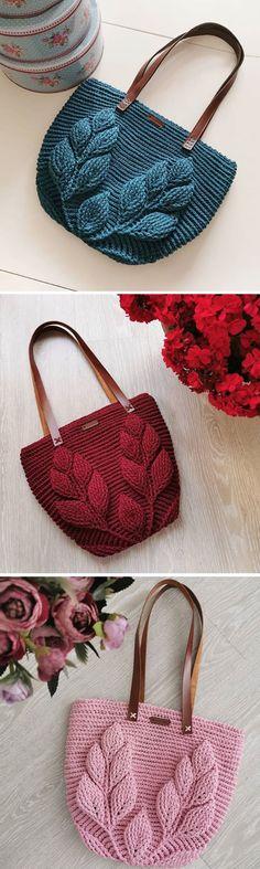 Häkeln Sie Blatt Tasche Muster - Stricken Ideen Crochet Leaf Bag Pattern Th., Häkeln Sie Blatt Tasche Muster - Stricken Ideen Crochet Leaf Bag Pattern Th. Crochet Handbags, Crochet Purses, Crochet Bags, Free Crochet, Knit Crochet, Tshirt Garn, Knitting Patterns, Crochet Patterns, Knitting Ideas
