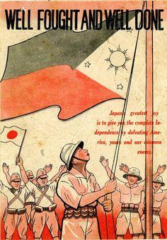 Japanese propaganda poster in World War II.