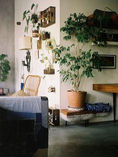 ces petites boîtes au mur et ce canapé revêtu d'un patchwork en jeans...
