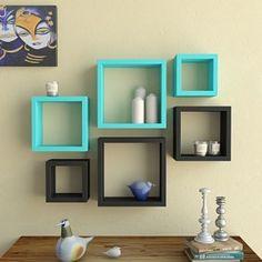 Desi Karigar Wall Mount Shelves Square Shape Set of 6 Wall Shelves - Black &…