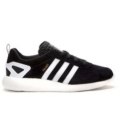 Adidas x Palace Pro Boost (Black White Gold) (210 405 LBP) ❤ liked on Polyvore featuring shoes, sneakers, black and white sneakers, wide fit shoes, gold shoes, gold trainers and white and black shoes