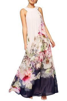 Floral Round Neck Sleeveless Maxi Dress