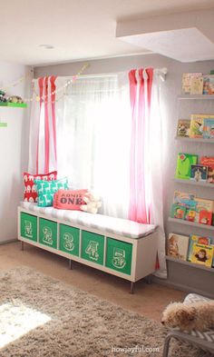 Add seating and storage at the same time by transforming a plain white IKEA bookshelf into a bench complete with green numbered cubbies.