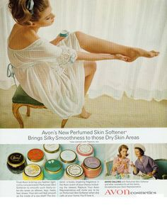 "We're taking a look back to this classic ""Avon Perfumed Skin Softener"" ad. Can you guess the year this ad was published?  #TBT"