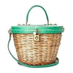 46885a527c Dolce  amp  Gabbana Banana leaf-print leather and wicker basket bag ( 3