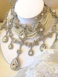 Bridal choker statement necklace earrings vintage by GlamDuchess