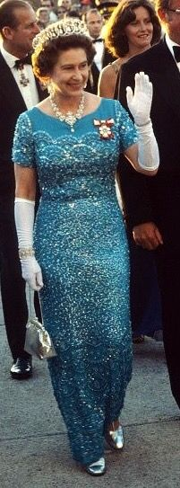 August 1978. Canada. Queen Elizabeth ll waves to the public as she arrives to attend a banquet on August 01 1978 in Canada