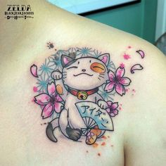 【zelda_blackjeanjacques】さんのInstagramをピンしています。 《#luckycat #sakura #cherryblossoms #cherryflowers #cute #cat #japanese #japan #pattern #japonaise #manekineko #love #fan #eventail #tattooart #tattoos #tatouage #couleur #zeldabjj #zeldablackjeanjacques #tattoo #tatts #tattooartistmag #womantattoo #femininetattoo》