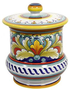 Italian Ceramic Majolica Kitchen Jar