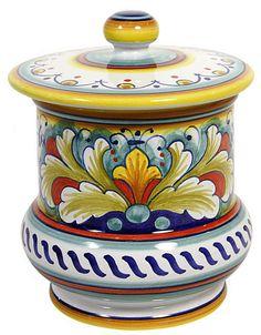 Italian Ceramic Majolica Kitchen Jar